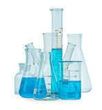 Test-tubes, flasks with blue liquid Stock Images