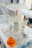 Test tubes and flasks in the chemical laboratory Royalty Free Stock Images