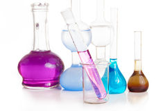 Test tubes and flasks with colorful liquids Royalty Free Stock Photo