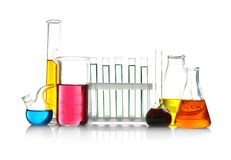 Test tubes and flasks on   background. Test tubes and flasks on white background Royalty Free Stock Photography