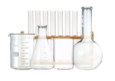 Test-tubes isolated on white. Laboratory glassware Royalty Free Stock Photos