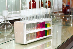Test tubes are in laboratory. Test tubes are in a laboratory Royalty Free Stock Photos