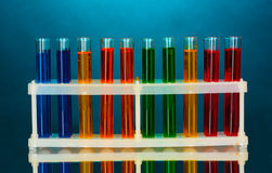 Test tubes in a laboratory on blue Royalty Free Stock Images