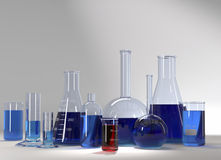 Test-tubes at laboratory with blue and red liquid Stock Photo