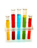 Test tubes with liquid isolated Stock Photography