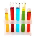 Test tubes with liquid isolated Royalty Free Stock Photos