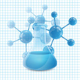 Test tubes. And molecule.Test tube with blue liquid stock illustration