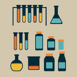 Test tubes. Over beige background vector illustration Stock Image
