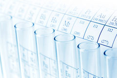 Test tubes. And periodic table of elements, science concept Royalty Free Stock Photography