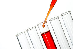 Test tubes and pipette drop, Laboratory Glassware Royalty Free Stock Photos