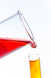 Test tubes and pipette drop, Laboratory Glassware for research Stock Images
