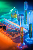 Test tubes and pipette. Microbiological pipette in the genetic laboratory royalty free stock photography