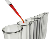 Test tubes with pipette and red liquid Royalty Free Stock Image