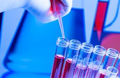 Test tubes with pipette on red liquid in laboratory. Test tubes with pipette on red liquid on blue blur laboratory background Stock Images