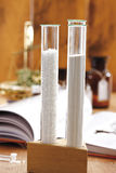 Test tubes with powder and granulate, close-up Royalty Free Stock Photos