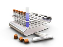 Test tubes in a rack. 3D render of test tubes in a rack Royalty Free Stock Photography