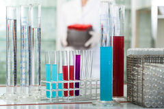 Test tubes in rack wit colorful liquids Royalty Free Stock Photo