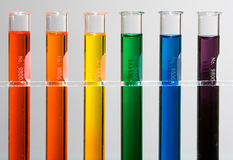 Test tubes with rainbow colors Stock Photo