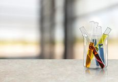 Test Tubes. Scientific Experiment Beaker Biotechnology Laboratory Glass Multi Colored Stock Photography