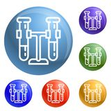 Test tubes on stand icons set vector stock illustration