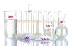 Test-tubes with various acids and chemicals Stock Photo