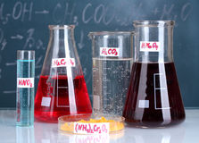 Test-tubes with various acids and other chemicals Royalty Free Stock Photos