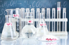 Test-tubes with various acids and other chemicals Royalty Free Stock Photo