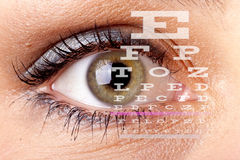 Test vision chart. An eye with test vision chart Royalty Free Stock Images