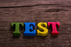 Test word made of wooden letters Royalty Free Stock Images