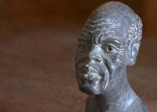 Testa africana di pietra Fotografie Stock