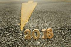 Testa al concetto 2016 della strada del nuovo anno Fotografie Stock