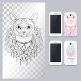 Testa animale in bianco e nero del gatto, stile di boho Illustrazione di vettore per la cassa del telefono Fotografia Stock Libera da Diritti