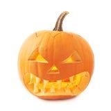 testa arancio della zucca delle Jack-o'-lanterne isolata Fotografia Stock Libera da Diritti