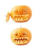 testa arancio della zucca delle Jack-o'-lanterne isolata Fotografia Stock