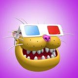 Testa arancio sorridente felice del gatto in vetri 3d illustrazione 3D Immagine Stock