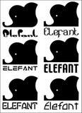 Testa astratta di un elefante con un'iscrizione di un elefante, un insieme del logo di minimalismo Immagine Stock