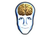 Testa astuta con il cervello Immagini Stock Libere da Diritti