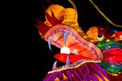 Testa cinese alleggerita del drago Fotografie Stock Libere da Diritti