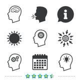 Testa con l'icona del cervello Simboli umani maschii royalty illustrazione gratis
