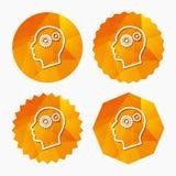 Testa con l'icona del segno degli ingranaggi Testa umana maschio Immagini Stock Libere da Diritti