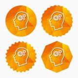 Testa con l'icona del segno degli ingranaggi Testa umana maschio Immagine Stock Libera da Diritti