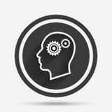 Testa con l'icona del segno degli ingranaggi Testa umana maschio Fotografie Stock Libere da Diritti