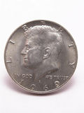 Testa d'argento del dollaro mezzo del Kennedy Immagini Stock Libere da Diritti
