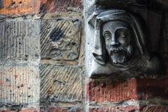 Testa decorativa dell'uomo a Bruges, Belgio Fotografia Stock Libera da Diritti