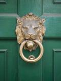 Testa dei leoni sul portello verde Immagine Stock Libera da Diritti