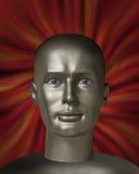 Testa del Android con gli occhi umani nel vortice rosso Immagine Stock Libera da Diritti