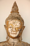 Testa del Buddha del primo piano, statua al Museo Nazionale di Wat Pra Bronathatchaiya, Tailandia Fotografia Stock