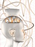Testa del cervello della ruota dentata illustrazione di stock