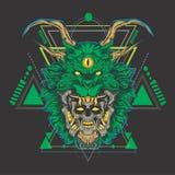 Testa del cranio del drago verde illustrazione vettoriale