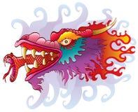 Testa del drago con la linguetta del serpente Fotografie Stock Libere da Diritti